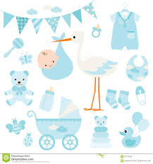 baby boy shower and baby items stock vector image 69179463