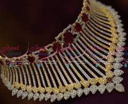 colour gold necklace images Nl8294 cz gold silver ganga jamuna colour ruby cz stylish choker JPG