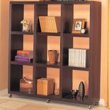 Bookcase Mahogany Cappuccino Or Warm Mahogany Finish Modern Bookcase W Casters