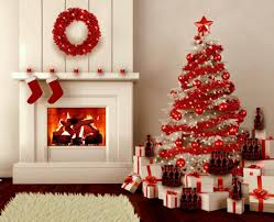 white christmas tree with red and gold decorations nice decoration