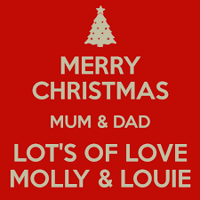 merry christmas mum u0026 dad lot u0027s love molly u0026 louie poster