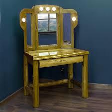Bedroom Vanities With Mirrors by Rustic Cedar Log Makeup Vanity With Tri Fold Mirror House