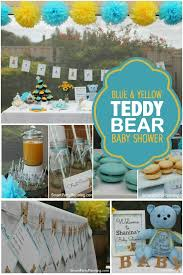yellow baby shower ideas a blue and yellow teddy baby shower spaceships and laser beams