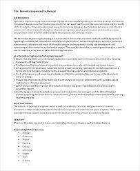 Biomedical Engineer Resume Biomedical Engineering Job Description Biochemist What Does A