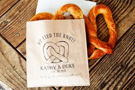 pretzel bags for favors pretzel wedding favor bags we the knot personalized