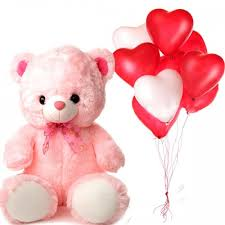 balloons and teddy delivery send 5 teddy with blown balloons online by giftjaipur in