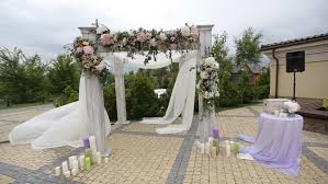 wedding ceremony arch wedding arch decorated with flowers before the wedding ceremony in