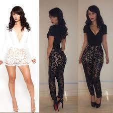 fashion lace club bandage bodycon jumpsuits women u0027s cocktail party