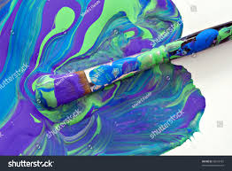 artist paint brush swirls mixed acrylic stock photo 28252105