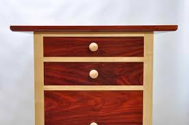 padauk and maple nightstand red and white