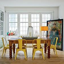 Vintage Cottage Style Painted Metal Lemon Yellow And Youngest Child - Vintage dining room ideas