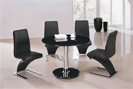 Interesting Round Black Glass Dining Table And  Chairs  On - Black glass dining room sets