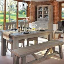 saltash reclaimed wood dining table bench and chairs lifestyle