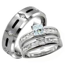 titanium wedding ring sets his hers wedding ring set sterling silver titanium wedding rings
