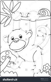 how draw monkey drawing children dot stock vector 513001702