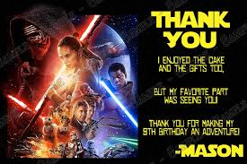 wars thank you cards novel concept designs wars the awakens birthday
