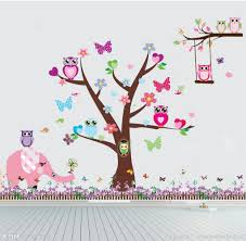 baby wall stickers owl scroll tree elephant bird decor kids removable pvc art decal