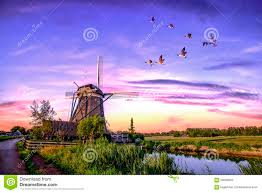 dutch sunrise windmills stock photo image 59568553