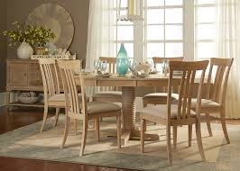Informal Dining Room Pedestal Casual Dining Table In Rubberwood Solids And Weathered