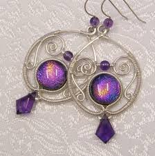 purple earrings amethyst silver and purple earrings by willowwalkerdesigns on