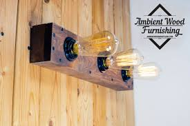 industrial bathroom vanity light fixture wood box pine panel