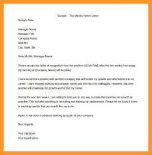 example of a two week notice letter sop example