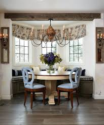 bay window banquette dining room traditional with floral