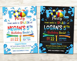 Invitation Card For Pool Party Pool Party Birthday Invitation Swimming Pool Birthday Party