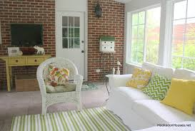 Hookedonhouses by Striped Rug Sofa Brick Wall 7 11 Hooked On Houses 6 Office Striped