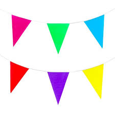 party banner foot multicolored plastic pennant party rainbow string