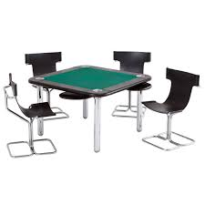 chrome and leather game card table and chairs for sale at 1stdibs