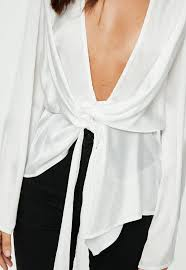 Chiffon Drape White Satin Chiffon Drape Blouse Missguided Ireland
