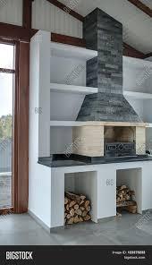 light room brick fireplace gray image u0026 photo bigstock
