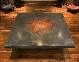 concrete and wood coffee table concrete table with wood inlay the details are what makes the rest