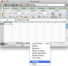 ms excel 2011 for mac unhide a sheet