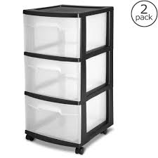 Home Depot Cart by Sterilite 12 63 In 3 Drawer Plastic Medium Cart In Black 2 Pack