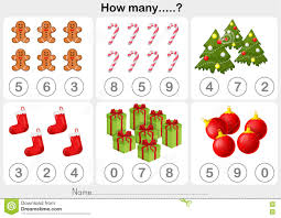 christmas theme activity sheet counting object for kids stock