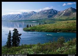 Alaska lakes images Picture photo twin lakes and river morning lake clark national park jpeg