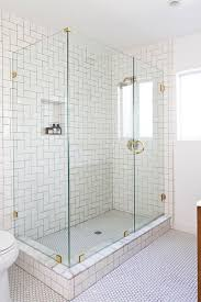 Concept Design For Tiled Shower Ideas Bathroom Glass Shower Partitions White Mozaic Tile Wall Glass