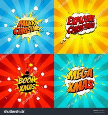 set pop art comic christmas vector stock vector 324125651
