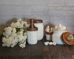 Bathroom Jars With Lids Classic Black And White Mason Jar Bathroom Set Bronze Pump