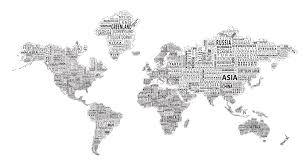 Cool Maps Of The World by 1 World Text Map Wall Mural Black On White