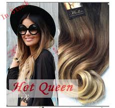hair extension sale hot sale 2014 fashion brown ombre hair extension 7clip set