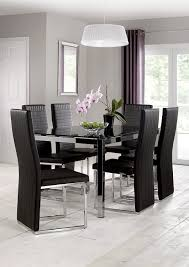 Black Glass Dining Table And Chairs Julian Bowen Tempo Glass Dining Table Chrome Black Amazon Co Uk