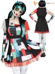 Voodoo Doll Halloween Costume Ladies Broken Rag Doll Halloween Costume Zombie Fancy Dress Womens