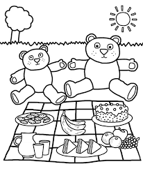 teddy bears picnic coloring page netart