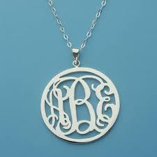 three initial monogram necklace circle monogram necklace sterling silver monogram necklace