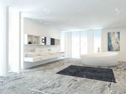 salle de bain luxe blanc brillant intérieur de salle de bains moderne de la lumière