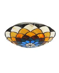 2 lights stained glass tiffany flush mount parrotuncle