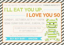 monster baby shower invitations iidaemilia com